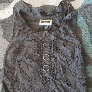 Womens XS Tunic top Side zip Lace